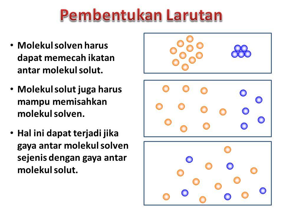 Pembentukan Larutan Molekul solven harus dapat memecah ikatan antar molekul solut. Molekul solut juga harus mampu memisahkan molekul solven.