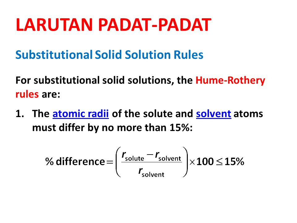 LARUTAN PADAT-PADAT Substitutional Solid Solution Rules