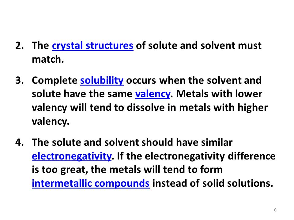 The crystal structures of solute and solvent must match.