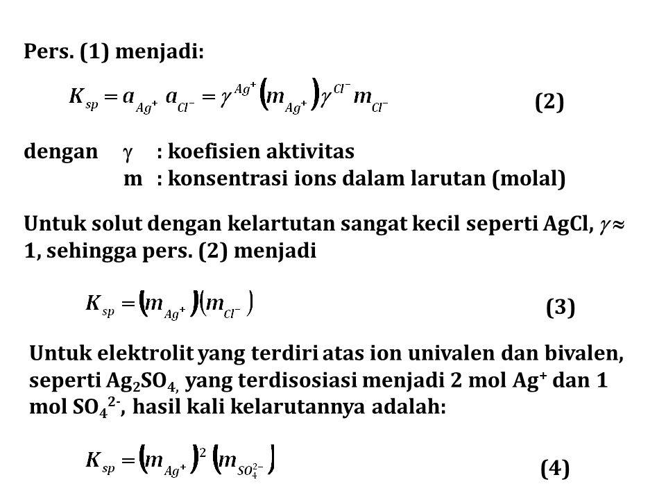 Pers. (1) menjadi: (2) dengan  : koefisien aktivitas. m : konsentrasi ions dalam larutan (molal)