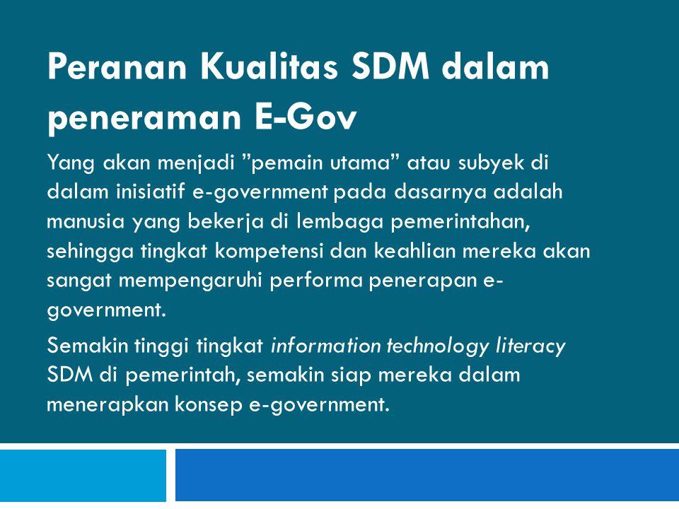 Peranan Kualitas SDM dalam peneraman E-Gov