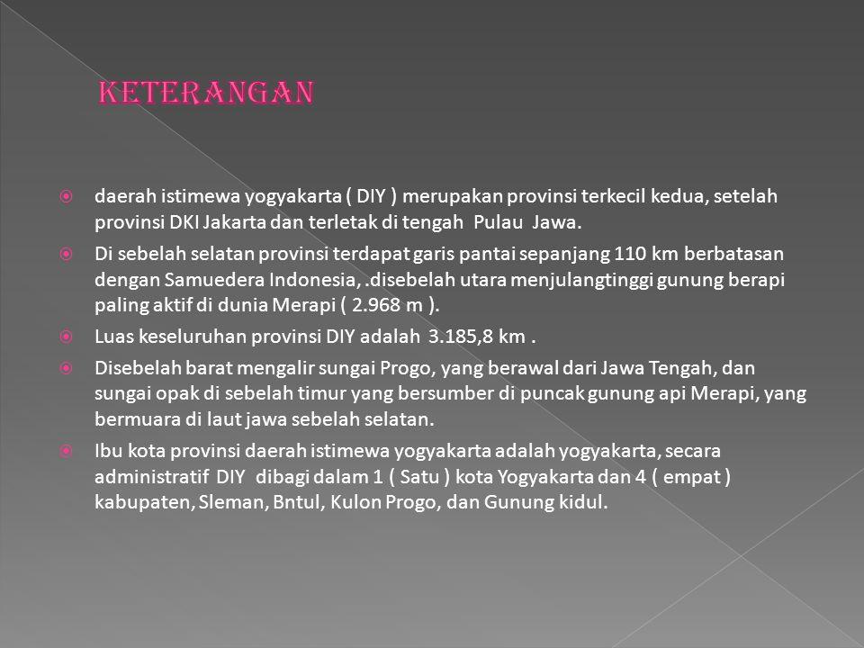 keterangan daerah istimewa yogyakarta ( DIY ) merupakan provinsi terkecil kedua, setelah provinsi DKI Jakarta dan terletak di tengah Pulau Jawa.