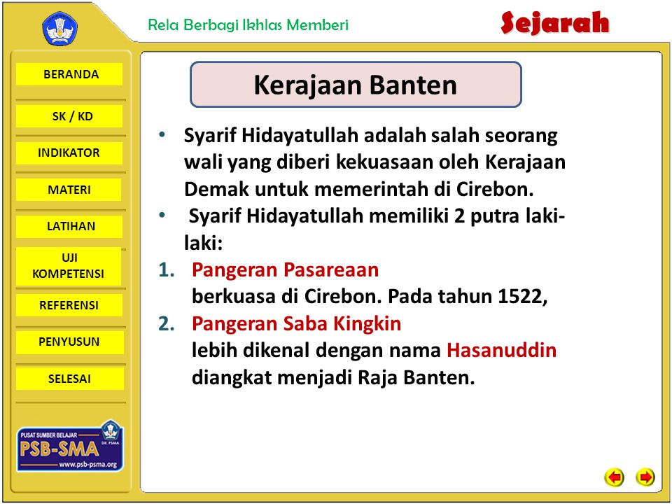 Kerajaan Banten Syarif Hidayatullah adalah salah seorang wali yang diberi kekuasaan oleh Kerajaan Demak untuk memerintah di Cirebon.