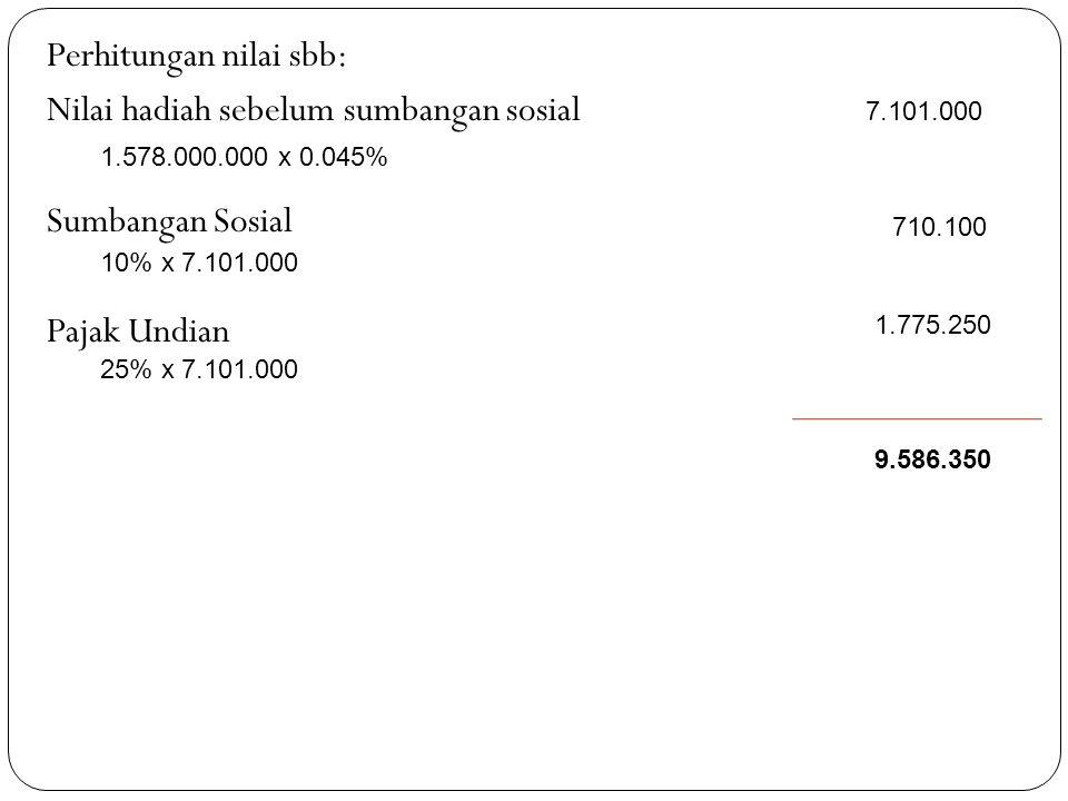 Perhitungan nilai sbb: Nilai hadiah sebelum sumbangan sosial Sumbangan Sosial Pajak Undian