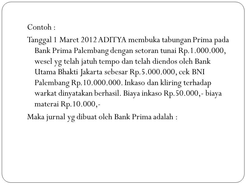 Contoh : Tanggal 1 Maret 2012 ADITYA membuka tabungan Prima pada Bank Prima Palembang dengan setoran tunai Rp.1.000.000, wesel yg telah jatuh tempo dan telah diendos oleh Bank Utama Bhakti Jakarta sebesar Rp.5.000.000, cek BNI Palembang Rp.10.000.000.