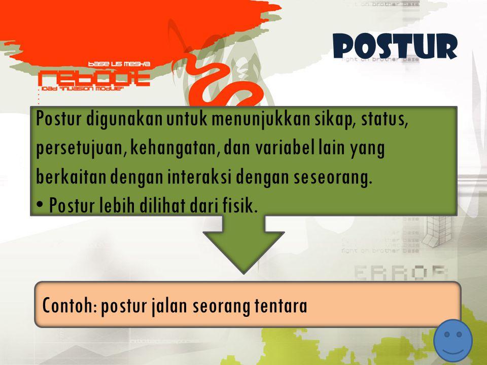 Postur Postur digunakan untuk menunjukkan sikap, status, persetujuan, kehangatan, dan variabel lain yang berkaitan dengan interaksi dengan seseorang.