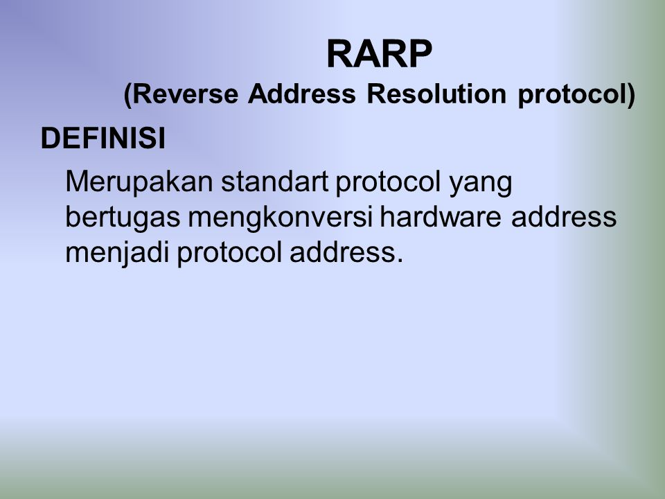 1 what is the purpose of the address resolution protocol arp Short for address resolution protocol, a network layer protocol used to convert an ip address into a physical address (called a dlc address), such as an ethernet address a host wishing to obtain a physical address broadcastsan arp request onto the tcp/ip network the host on the network that has.