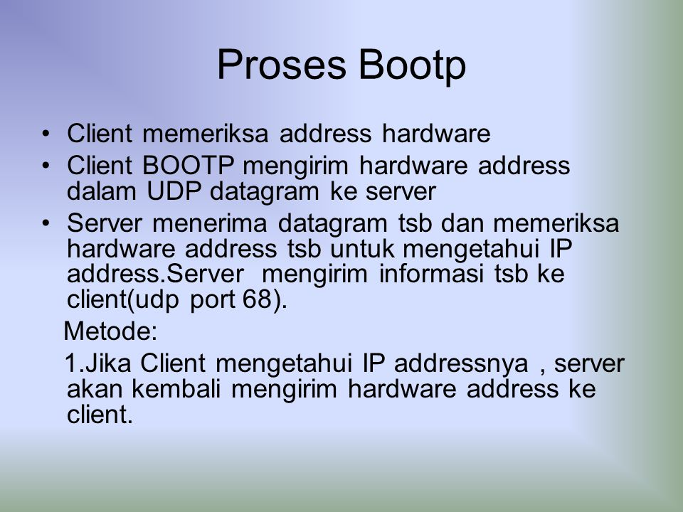 Proses Bootp Client memeriksa address hardware