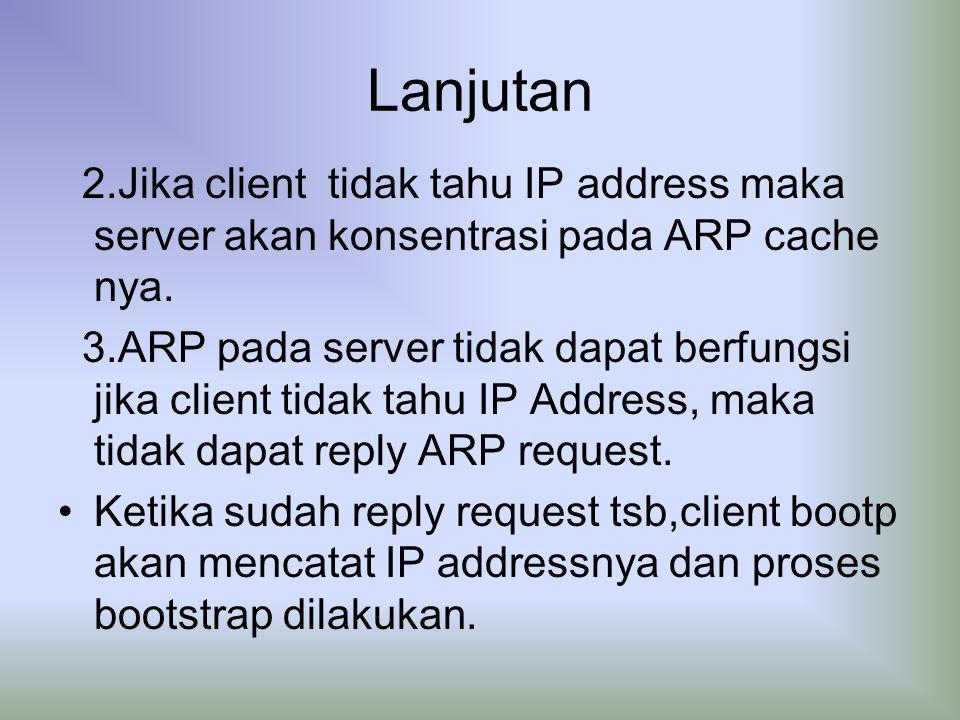 Lanjutan 2.Jika client tidak tahu IP address maka server akan konsentrasi pada ARP cache nya.