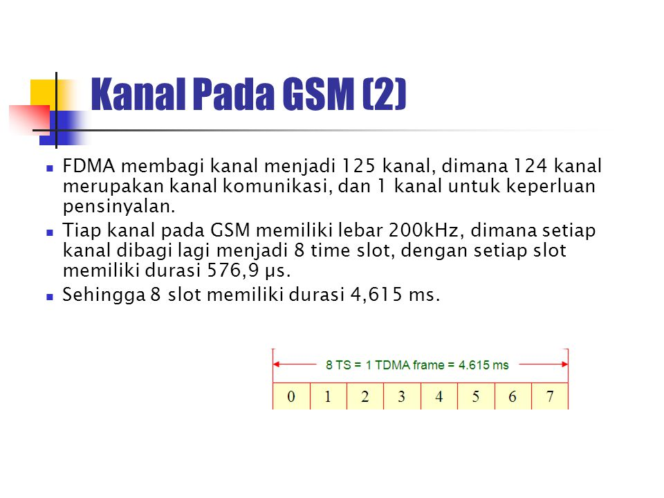 Kanal Pada GSM (2) FDMA membagi kanal menjadi 125 kanal, dimana 124 kanal merupakan kanal komunikasi, dan 1 kanal untuk keperluan pensinyalan.