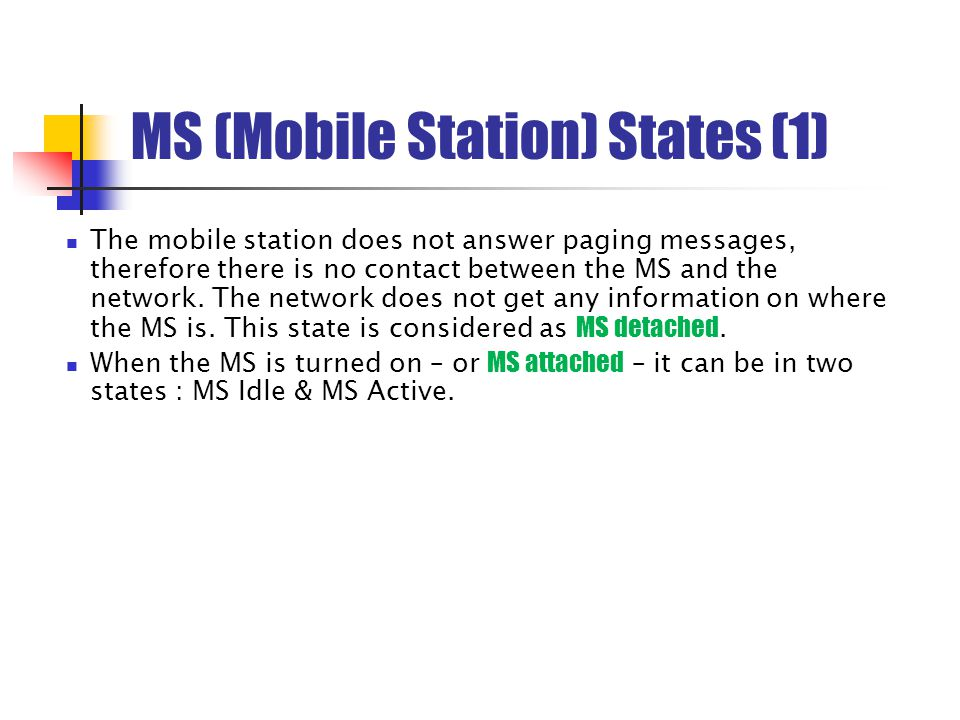 MS (Mobile Station) States (1)