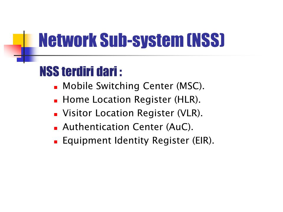 Network Sub-system (NSS)