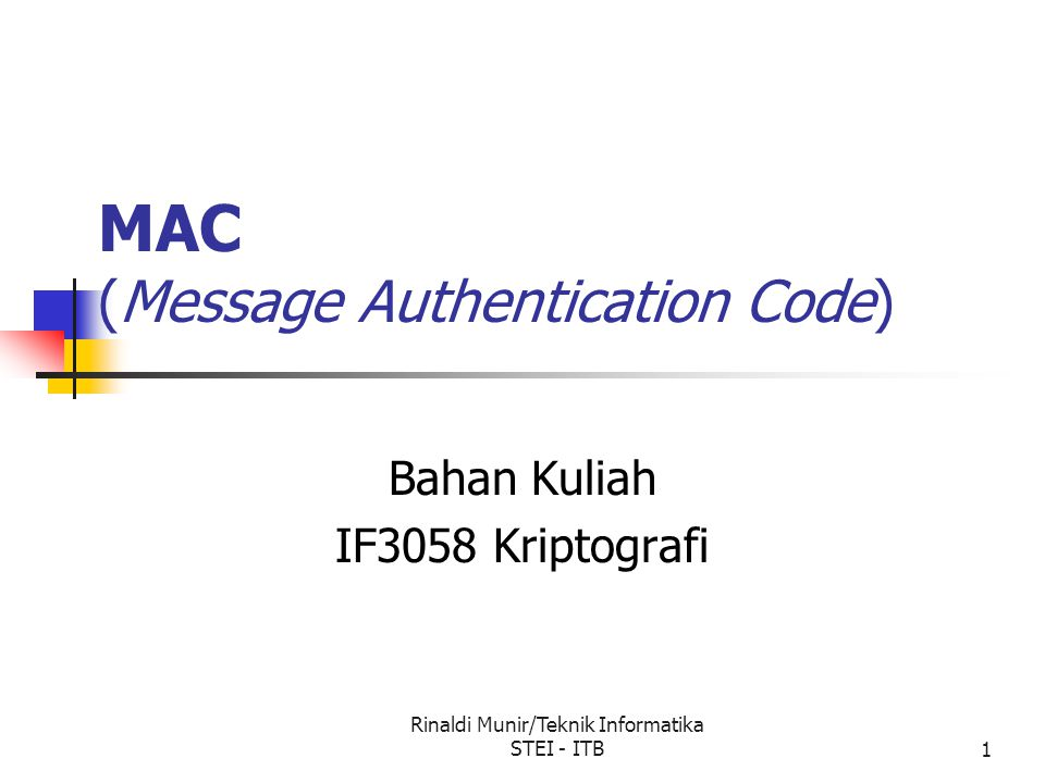 MAC (Message Authentication Code)