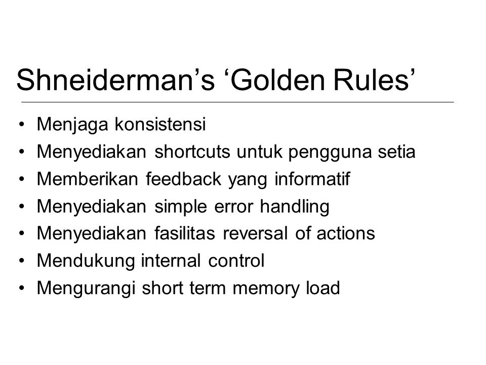 Shneiderman's 'Golden Rules'