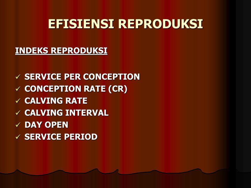 EFISIENSI REPRODUKSI INDEKS REPRODUKSI SERVICE PER CONCEPTION