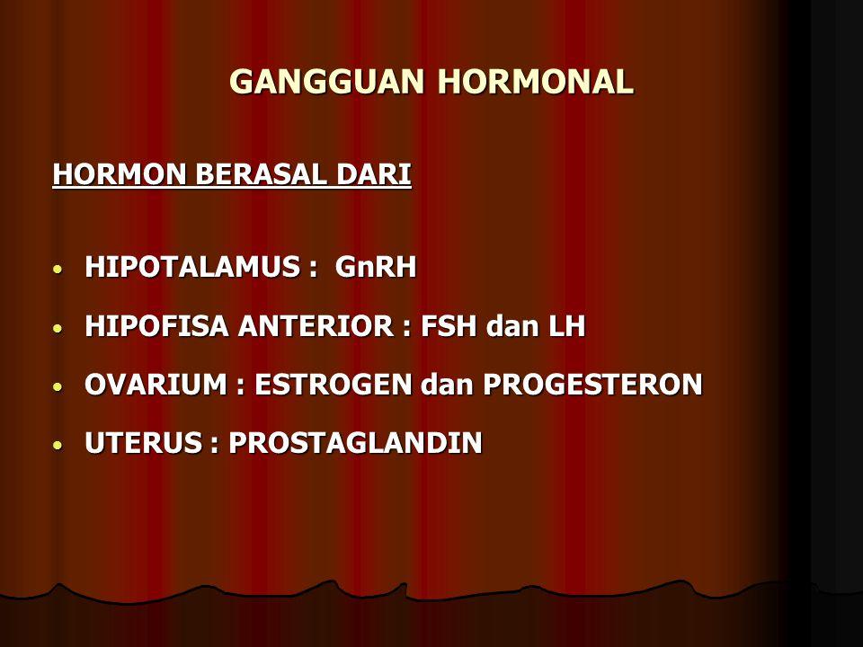GANGGUAN HORMONAL HORMON BERASAL DARI HIPOTALAMUS : GnRH