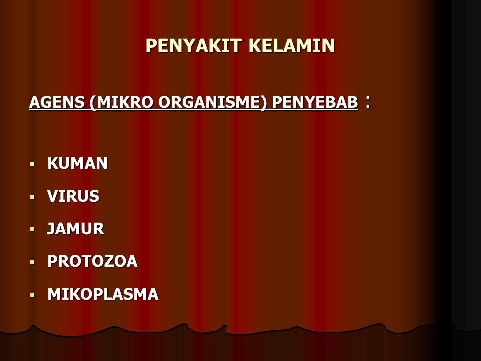 PENYAKIT KELAMIN AGENS (MIKRO ORGANISME) PENYEBAB : KUMAN VIRUS JAMUR