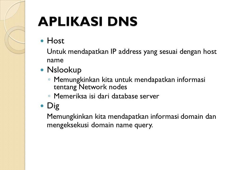 APLIKASI DNS Host. Untuk mendapatkan IP address yang sesuai dengan host name. Nslookup.