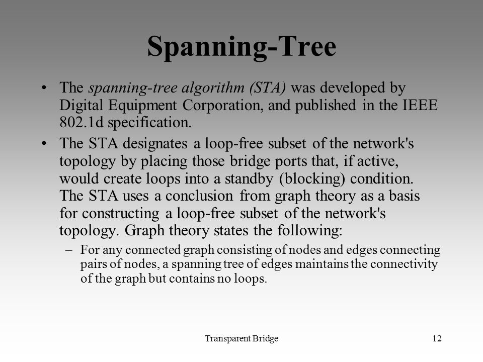 Spanning-Tree The spanning-tree algorithm (STA) was developed by Digital Equipment Corporation, and published in the IEEE 802.1d specification.