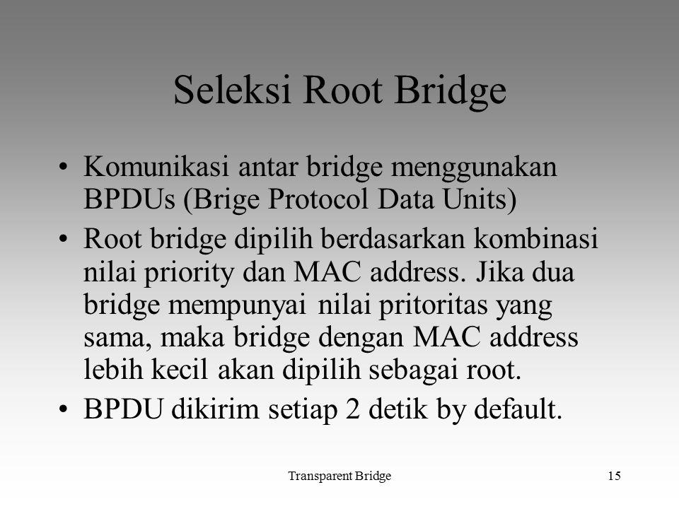 Seleksi Root Bridge Komunikasi antar bridge menggunakan BPDUs (Brige Protocol Data Units)