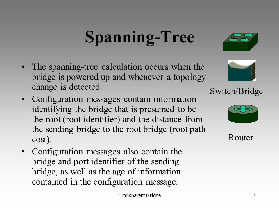 Spanning-Tree The spanning-tree calculation occurs when the bridge is powered up and whenever a topology change is detected.