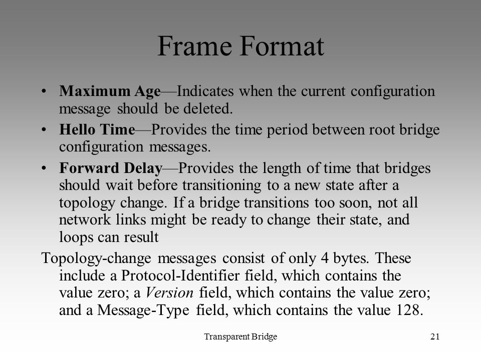 Frame Format Maximum Age—Indicates when the current configuration message should be deleted.