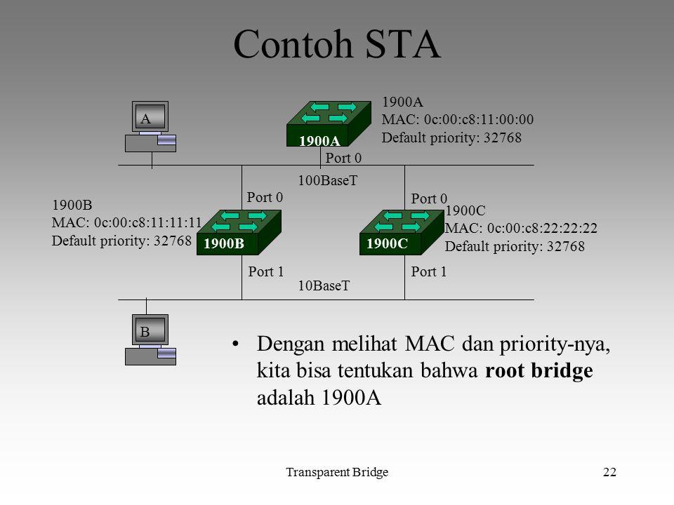Contoh STA A. B. 1900A. MAC: 0c:00:c8:11:00:00. Default priority: 32768. 1900B. MAC: 0c:00:c8:11:11:11.