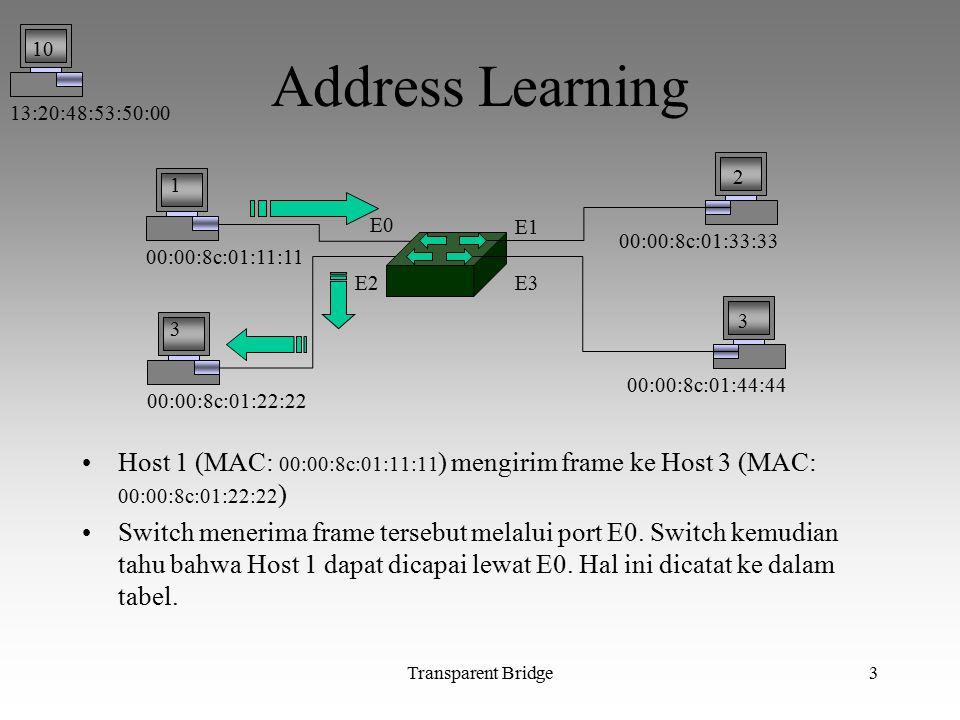 13:20:48:53:50:00 10. Address Learning. 00:00:8c:01:11:11. 00:00:8c:01:22:22. 00:00:8c:01:33:33.