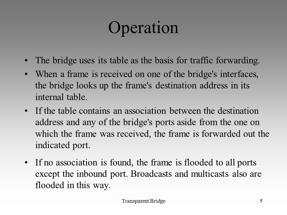 Operation The bridge uses its table as the basis for traffic forwarding.