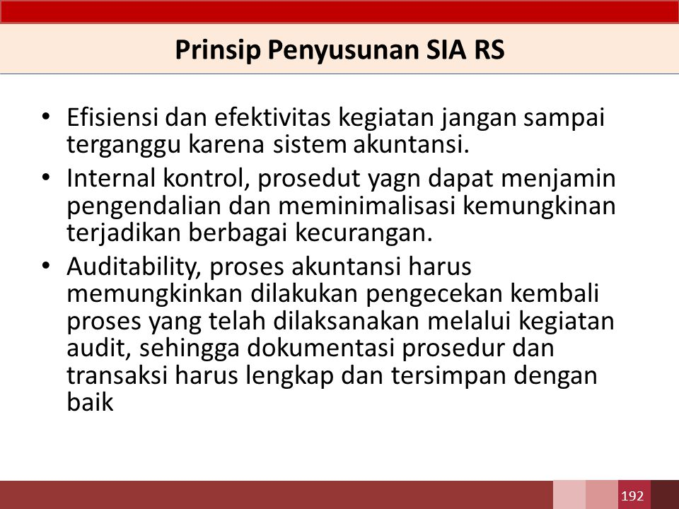 Prinsip Penyusunan SIA RS