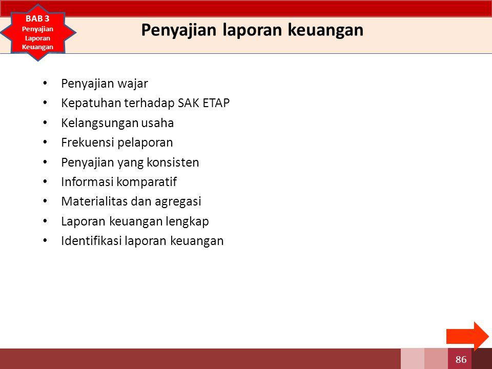 Penyajian laporan keuangan