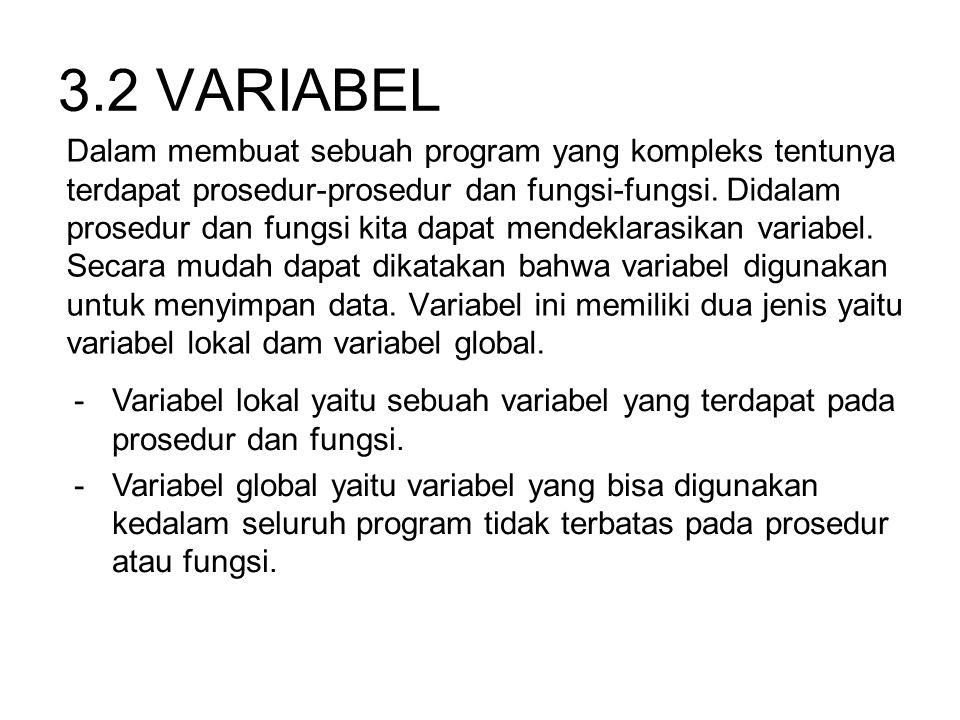 3.2 VARIABEL