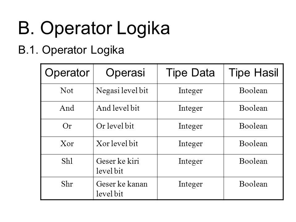 B. Operator Logika B.1. Operator Logika Operator Operasi Tipe Data
