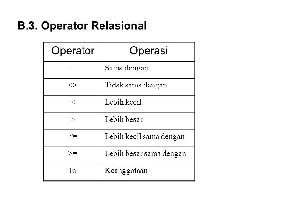 B.3. Operator Relasional Operator Operasi = Sama dengan <>