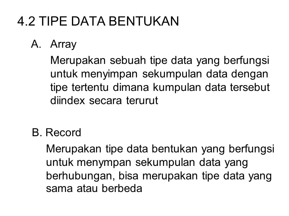 4.2 TIPE DATA BENTUKAN Array