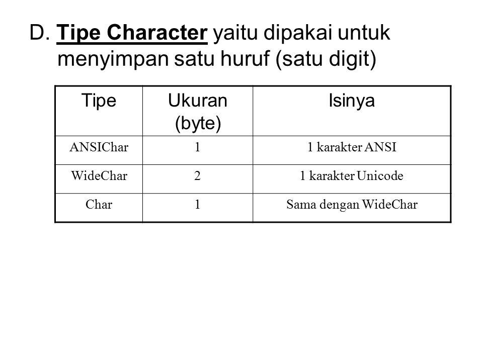 D. Tipe Character yaitu dipakai untuk menyimpan satu huruf (satu digit)