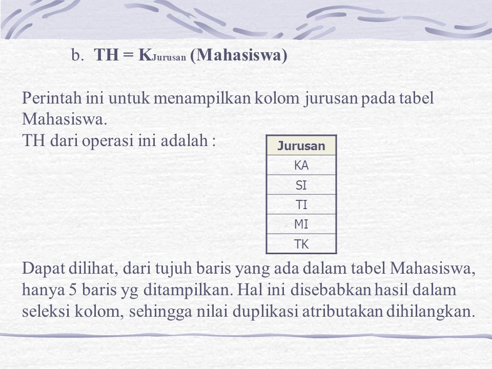 b. TH = KJurusan (Mahasiswa)