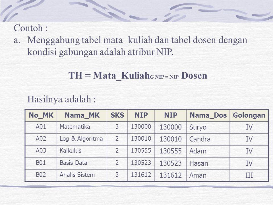 Menggabung tabel mata_kuliah dan tabel dosen dengan