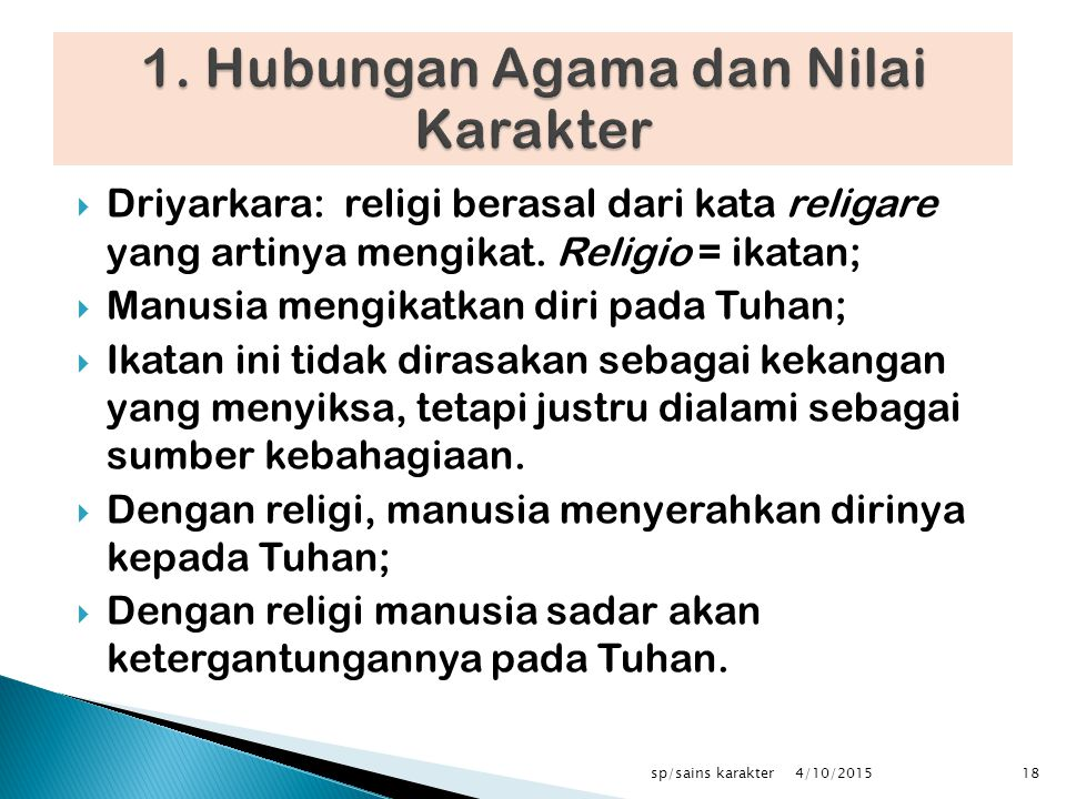 1. Hubungan Agama dan Nilai Karakter