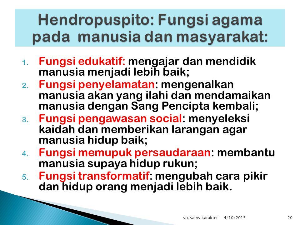 Hendropuspito: Fungsi agama pada manusia dan masyarakat: