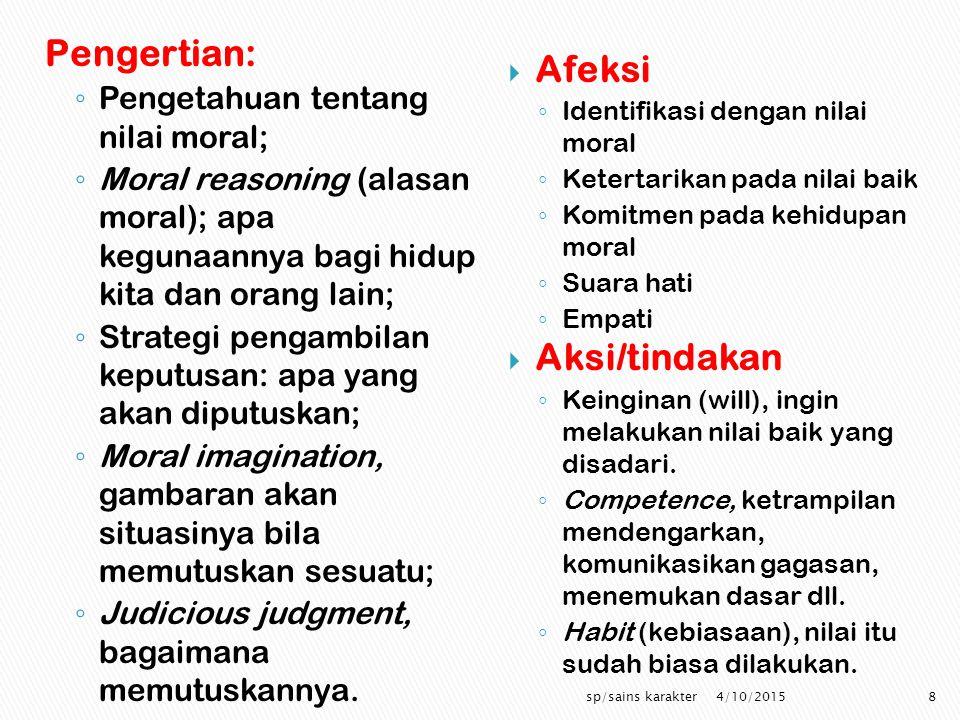 Pengertian: Afeksi Aksi/tindakan Pengetahuan tentang nilai moral;