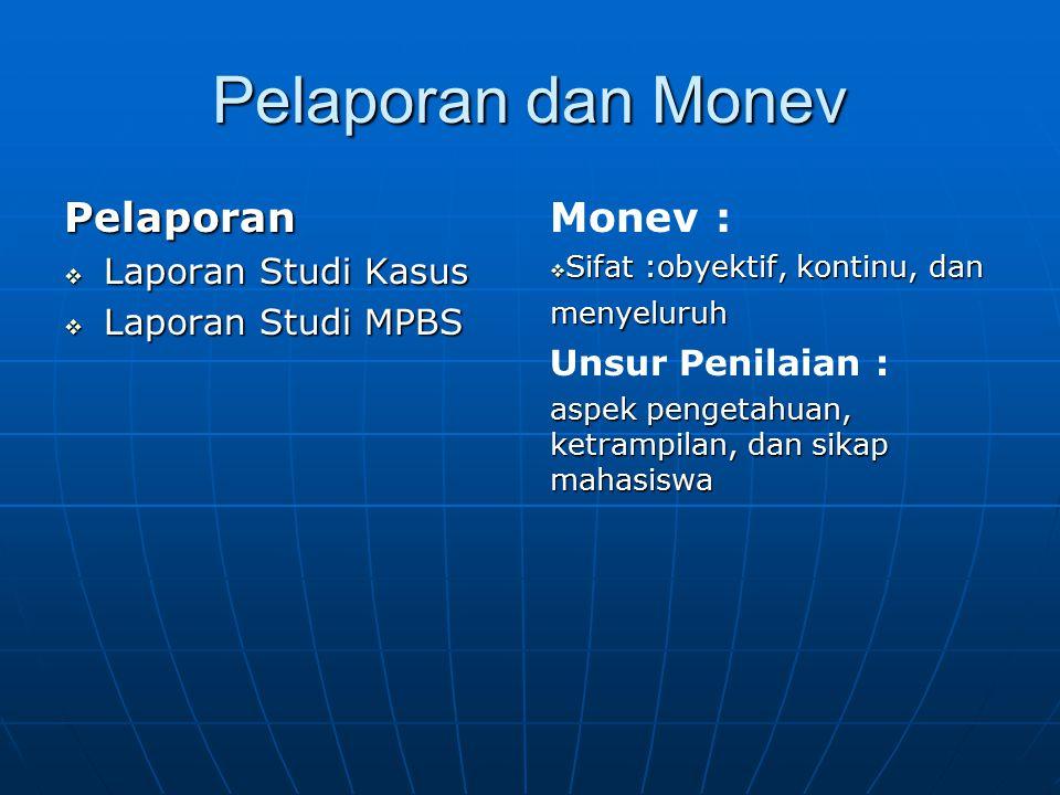 Pelaporan dan Monev Pelaporan Monev : Laporan Studi Kasus