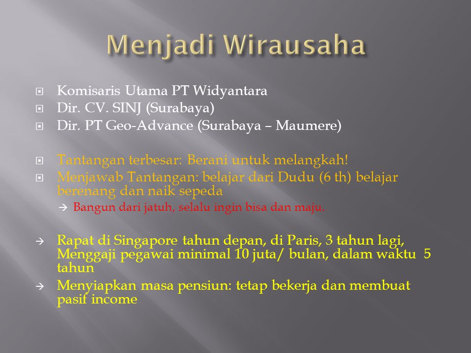 Menjadi Wirausaha Komisaris Utama PT Widyantara