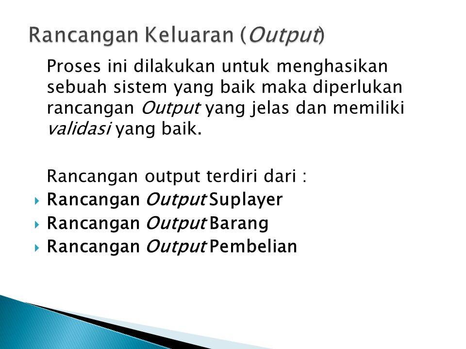 Rancangan Keluaran (Output)
