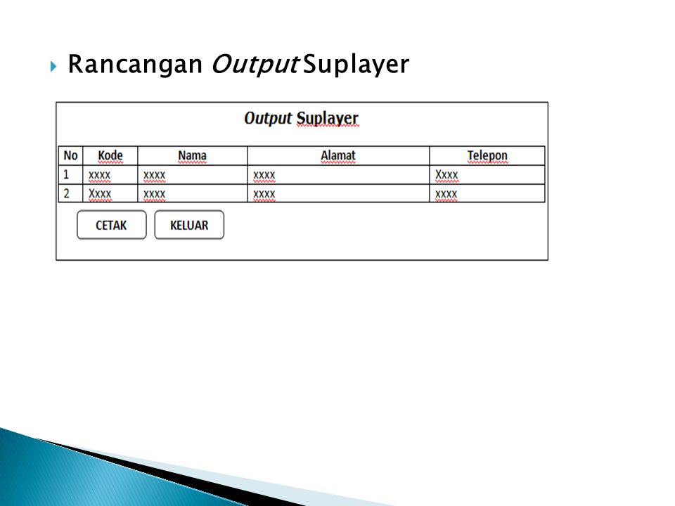 Rancangan Output Suplayer