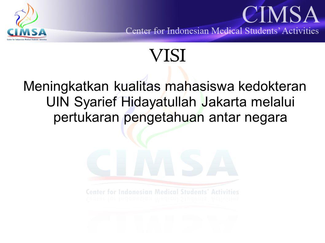 VISI Meningkatkan kualitas mahasiswa kedokteran UIN Syarief Hidayatullah Jakarta melalui pertukaran pengetahuan antar negara.