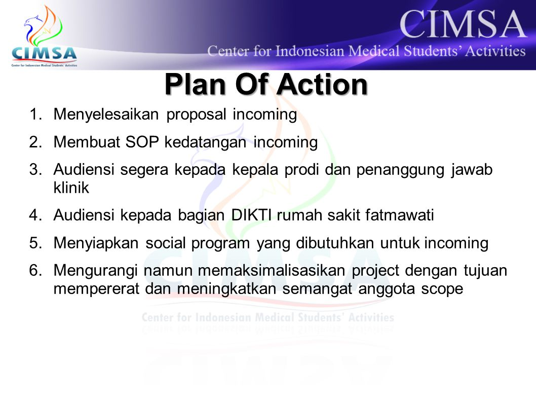 Plan Of Action Menyelesaikan proposal incoming