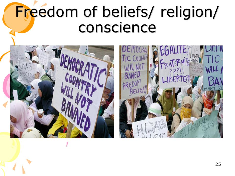 Freedom of beliefs/ religion/ conscience