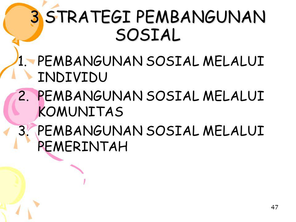 3 STRATEGI PEMBANGUNAN SOSIAL