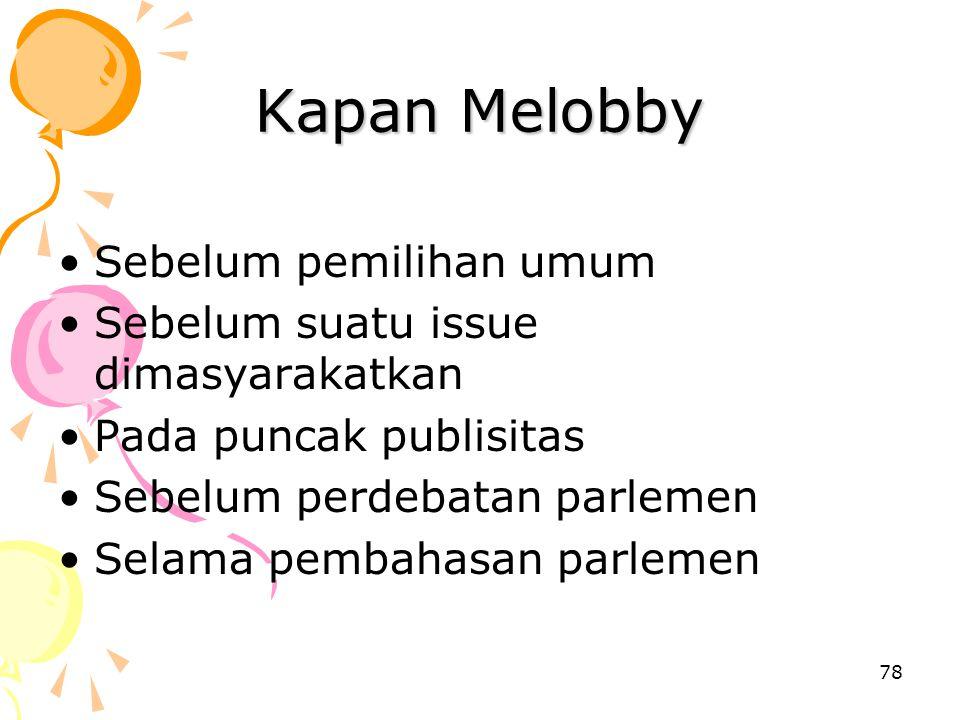 Kapan Melobby Sebelum pemilihan umum